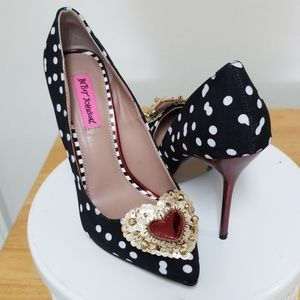 Betsey Johnson heels with sequin hearts
